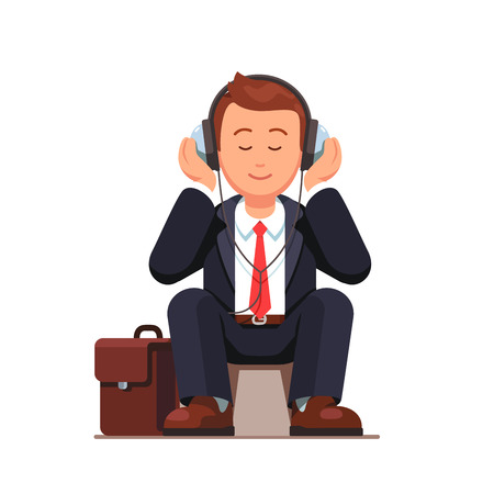 Business man listening to music wearing big headphones and sitting near his briefcase. Flat style vector illustration isolated on white background.
