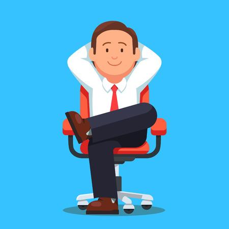 Biznesmen siedział spokojnie na kółkach krzesło nogi skrzyżowane i ręce za głową. Biznesmen szefa odpoczynku w spokoju pozują. Płaski styl ilustracji wektorowych samodzielnie na białym tle.