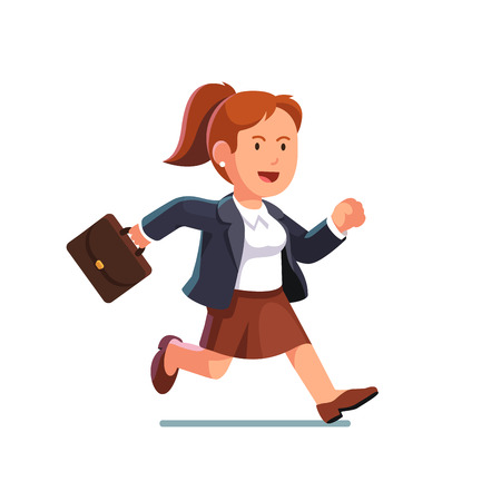 late: Determined business woman with a briefcase running fast to the right side. Businesswoman trying to catch on time. Flat style vector illustration isolated on white background. Illustration