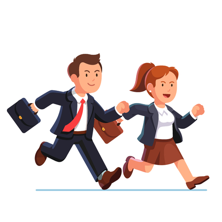business briefcase: Determined business woman and man running fast together. Businesswoman and businessman team trying to be in time. Flat style vector illustration isolated on white background.