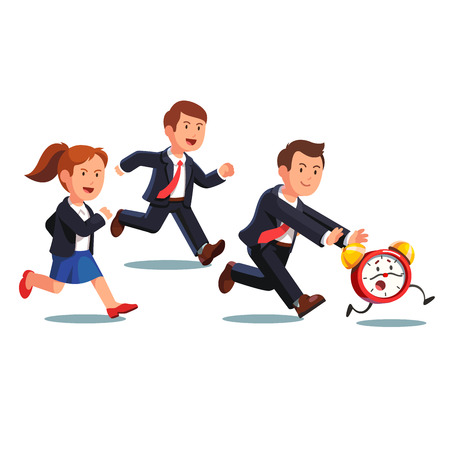 rush hour: Late business man and woman team chasing deadline time in a rush hour. Businessman and businesswoman running after animated alive clock with legs. Flat style vector illustration.