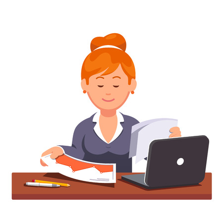 Auditor woman looking through statistical data papers doing commercial business audit. Sitting at the desk with laptop holding document with graph in hands. Flat style vector illustration.