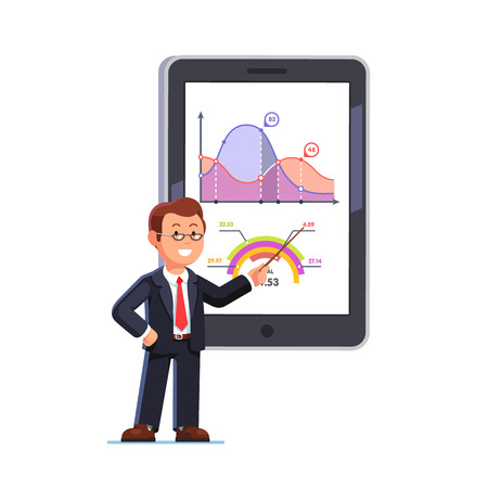 Standing business teacher wearing glasses pointing with wooden pointer stick at huge tablet or interactive board showing statistical data graphs. Flat style vector illustration. Çizim