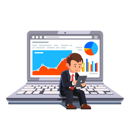 Small businessman sitting on a big laptop showing statistical business data and browsing on a tablet his holding in hands. Flat style concept vector illustration. Stock Illustratie