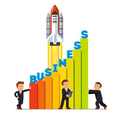 Businessman team working together to launch their growing business sales rocket ship high up. Teamwork for growth metaphor. Flat style vector illustration isolated on white background. Illustration