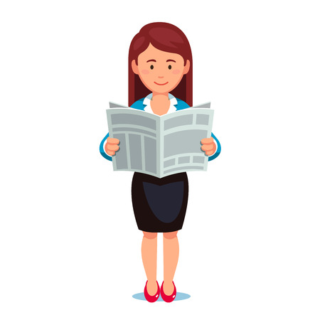 Standing business woman in formal dress reading news paper. Holding opened newspaper in hands. Flat style vector illustration isolated on white background.