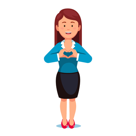 Standing business woman showing heart sign with her hands expressing love, passion, support and care. Flat style vector illustration isolated on white background. Illustration