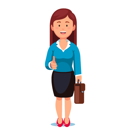 Standing business woman stretching her open hand offering handshake. Welcoming and ready for communication. Flat style vector illustration isolated on white background. Ilustracja