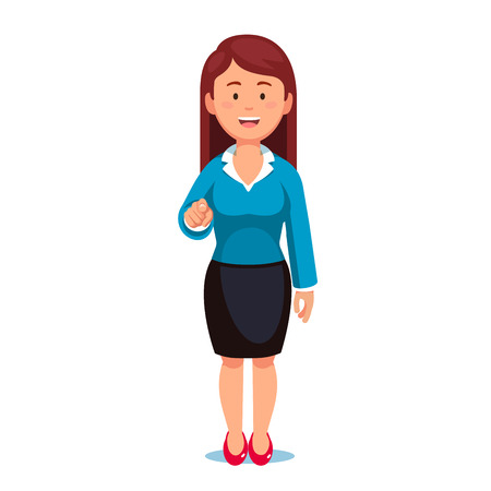 i want you: Standing business woman pointing with index finger at viewer in I want you gesture. Flat style vector illustration isolated on white background. Illustration