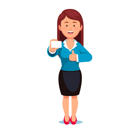 hand showing thumbs up: Standing woman showing her business card holding in right hand. Flat style vector illustration isolated on white background. Illustration