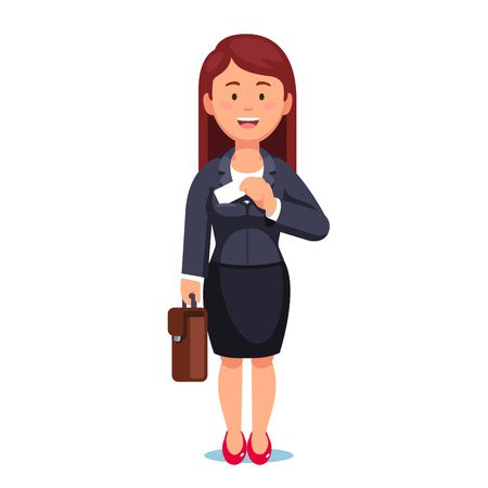 Standing business woman with a briefcase taking out business card from her jacket pocket. Flat style vector illustration isolated on white background.