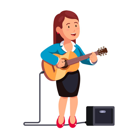 guitar amplifier: Business woman in formal dress playing guitar music and singing a song, standing one leg on combo guitar amplifier. White background isolated flat style vector illustration. Illustration