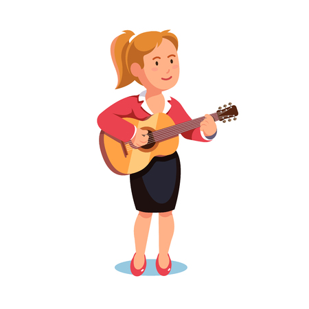 sing: Standing woman in a formal dress playing guitar music. Pastime hobby. Flat style vector illustration isolated on white background.