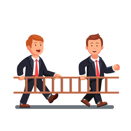 Two business man workers carrying wooden ladder together. Businessman team work. Flat style vector illustration isolated on white background.