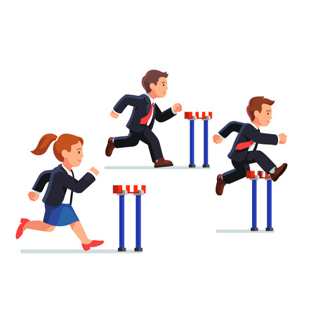 success man: Business man and woman competing in a steeplechase race following the leader jumping over obstacle. Determined businessman. Flat style vector illustration.