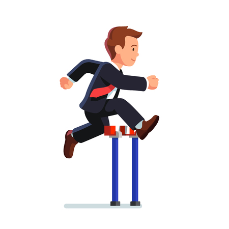 Business man competing in a steeplechase race jumping over the obstacle. Determined businessman. Side view. Flat style vector illustration isolated on white background.