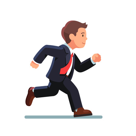 run: Business man in suit and red tie running fast. Fast run of businessman. Side view. Flat style vector illustration isolated on white background. Illustration