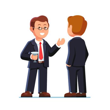 dirigenti uomo d'affari parlare e bere a cocktail party o un evento di raccolta fondi. Piatto stile illustrazione vettoriale isolato su uno sfondo bianco.