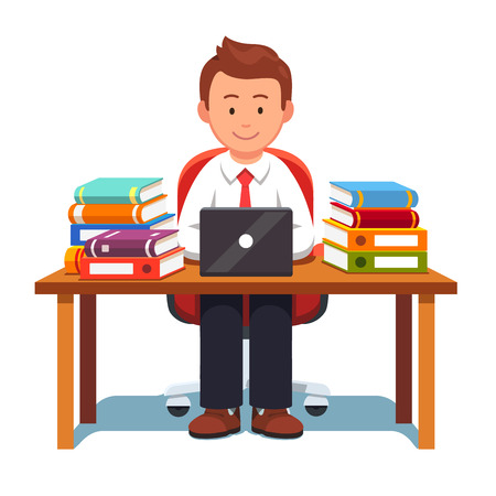 Business man working and learning sitting on an chair at desk with stacks of books and document binders. Studying hard and writing report. Flat style vector illustration isolated on a white background Vettoriali