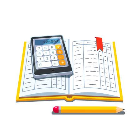 Open accounting boek of grootboek tafels met rekenmachine en potlood. Vlakke stijl vector illustratie geïsoleerd op een witte achtergrond. Vector Illustratie