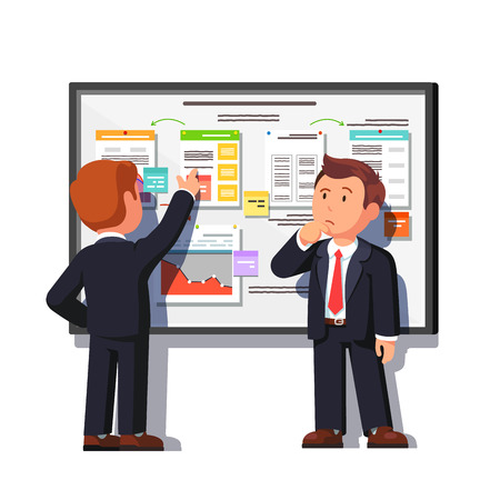 decomposition: Business consultant showing and explaining project process decomposition diagram on big white board to boss. Flat style vector illustration isolated on white background.