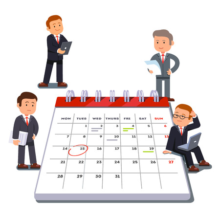 little man: Company business team planning and scheduling operations agenda on a big spring calendar. Flat style vector illustration isolated on white background. Illustration