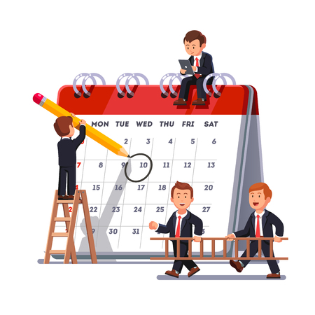 Company business team working together planning and scheduling their operations agenda on a big spring desk calendar. Drawing circle mark with pencil standing on ladder. Flat style vector illustration Çizim