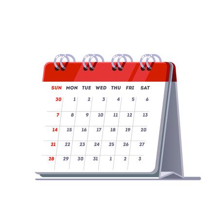 月に立って春デスク カレンダー テンプレート アイコンが並ぶ。フラット スタイル ベクトル イラスト白背景に分離されました。  イラスト・ベクター素材