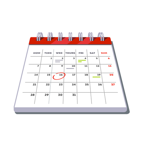 appointments: Month lined big calendar template icon with planned work and appointments marks. Flat style vector illustration isolated on white background. Illustration