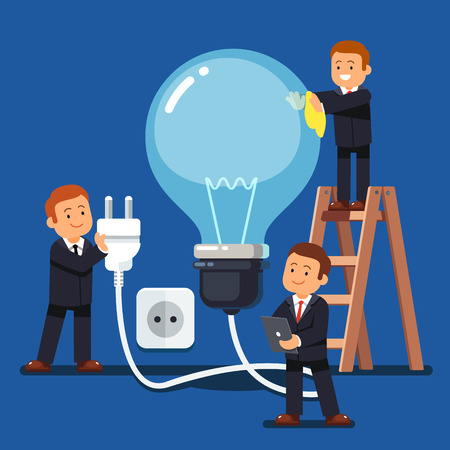 Company business man team doing maintenance and cleaning huge idea light bulb ready to plug in to a wall socket. Flat style vector illustration.