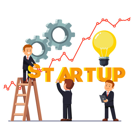 Startup letters business concept. Growing line graph, gears and idea light bulb. Businessman team making startup word with a stepladder. Flat style vector illustration isolated on white background.