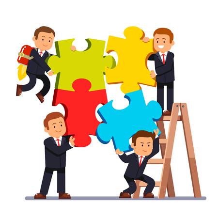 Compañía equipo de negocios de unirse a enormes piezas de un rompecabezas juntos. Grupo de hombre de negocios trabajando en un proyecto y ayudar a los demás. aislado fondo blanco ilustración vectorial de estilo plano.
