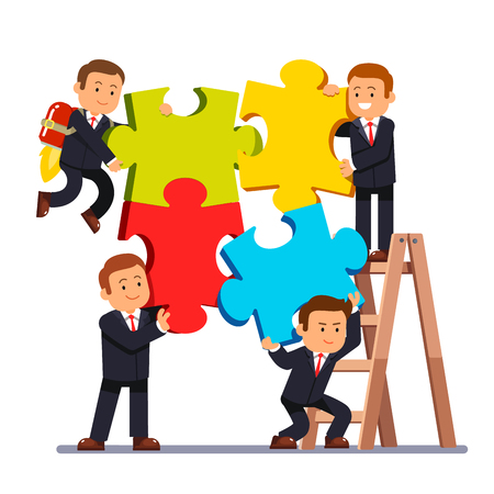 Company business team joining huge jigsaw puzzle pieces together. Group of businessman working on a project and helping each other. White background isolated flat style vector illustration.