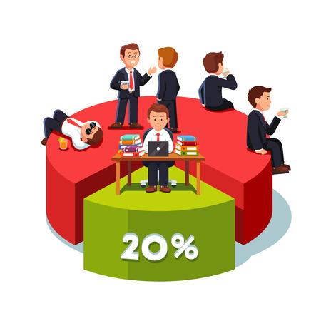 Zakenlieden met 80 procent aandeel van de markt Stock Illustratie
