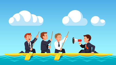 business leader: Business man rowing under the guidance of leader