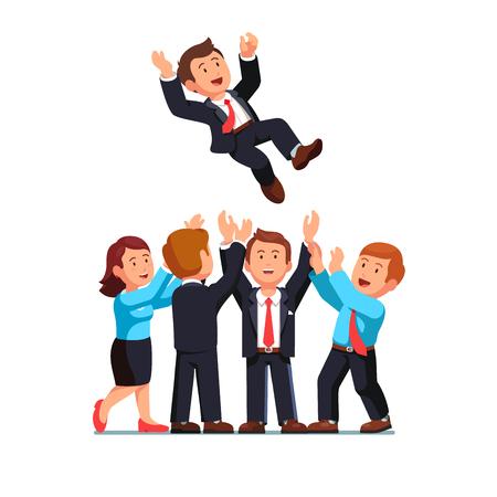 Business man throwing up boss celebrating success Illustration