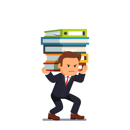 Businessman holding pile of heavy documents Illustration
