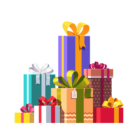 Big pile of colorful wrapped gift boxes decorated with ribbon, bows and ornaments. Lots of holiday presents. Flat style vector illustration isolated on white background. Vettoriali