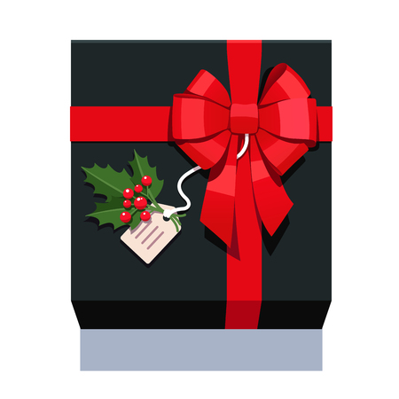 new england: Black wrapped gift box decorated with big red ribbon bow, ilex plant sprig with leafs and berries. Flat style vector illustration isolated on background.