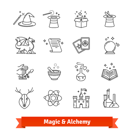 Magic and Alchemy thin line art icons set