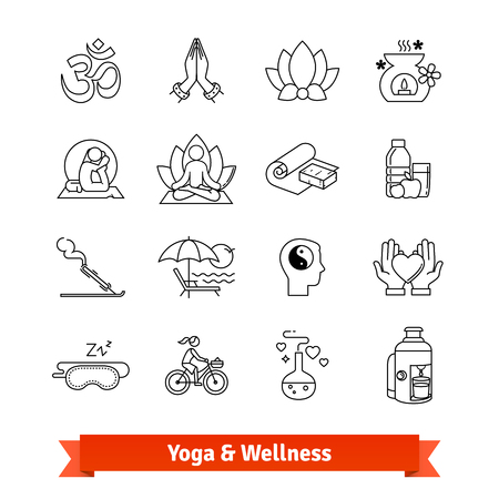 Yoga workout and wellness program. Icons set