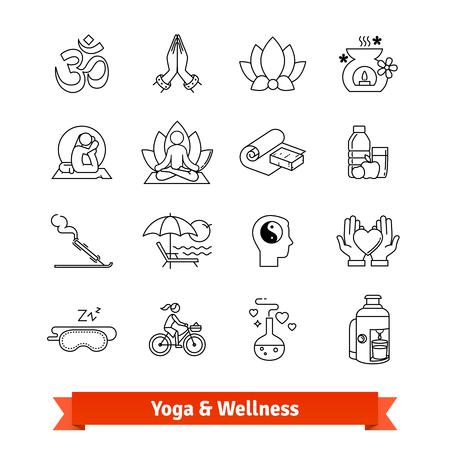 Yoga workout and wellness program. Icons set Stock Vector - 76569155