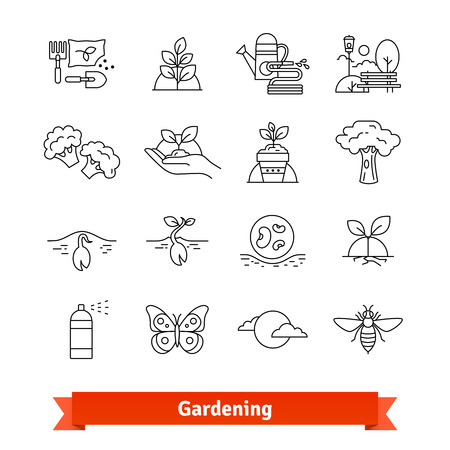 pulverizer: Gardening and horticulture. Thin line icons set Illustration