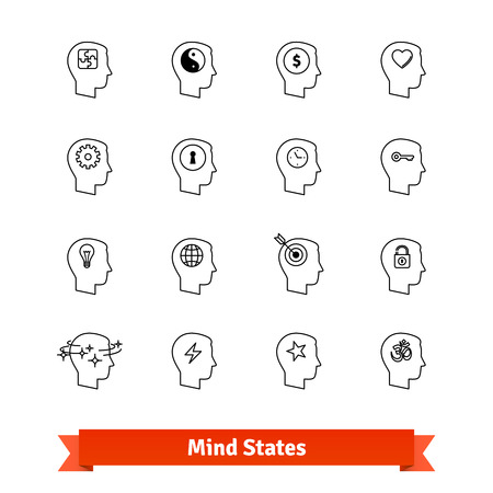 state of mood: Mind states thin line art icons set