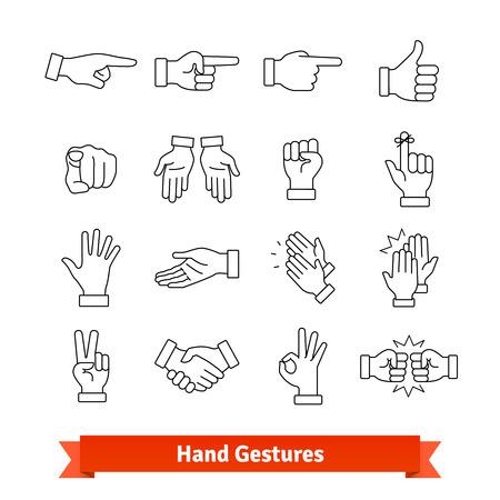 Handgesten dünne Linie Kunst Symbole gesetzt Standard-Bild - 76569366