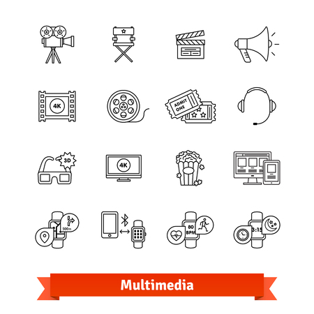 Multimedia thin line art icons set. Entertainment