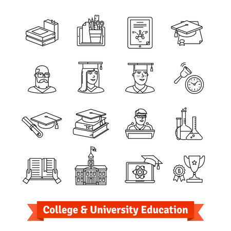 computer education: College and University education icons set