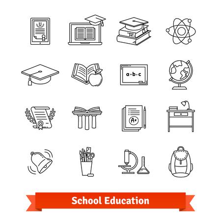 computer education: University and school academic education signs set Illustration