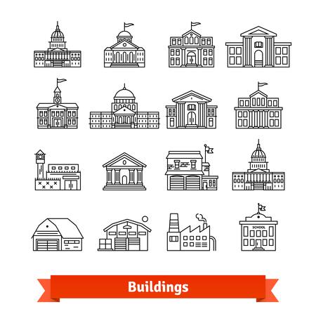 政府と教育の公共の建物セット