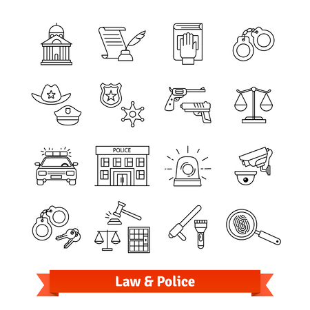 criminals: Legal, law, court and police icons thin line set